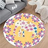 Nalahome Modern Flannel Microfiber Non-Slip Machine Washable Round Area Rug-Cartoon Thai Baby Elephant Kids Decor Colorful Natural Wildlife Animal Prints area rugs Home Decor-Round 75''