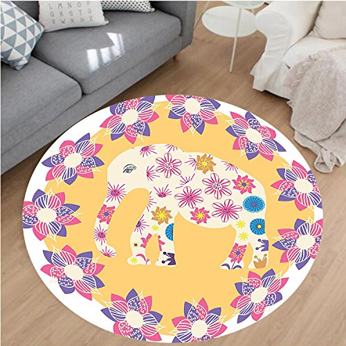 Nalahome Modern Flannel Microfiber Non-Slip Machine Washable Round Area Rug-Cartoon Thai Baby Elephant Kids Decor Colorful Natural Wildlife Animal Prints area rugs Home Decor-Round 75'' by Nalahome