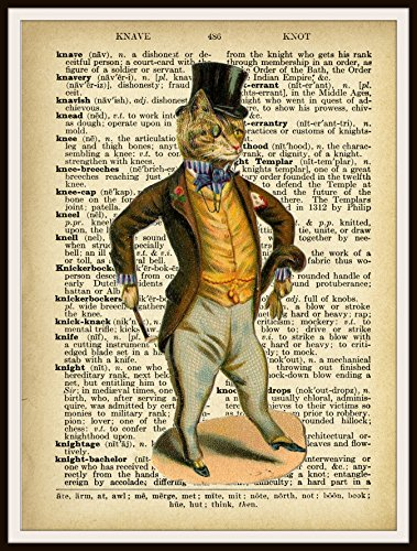 Vintage Cat in Top Hat on Ephemera Vintage Dictionary Page Reproduction Art Print Wall Decor, 8 x 10