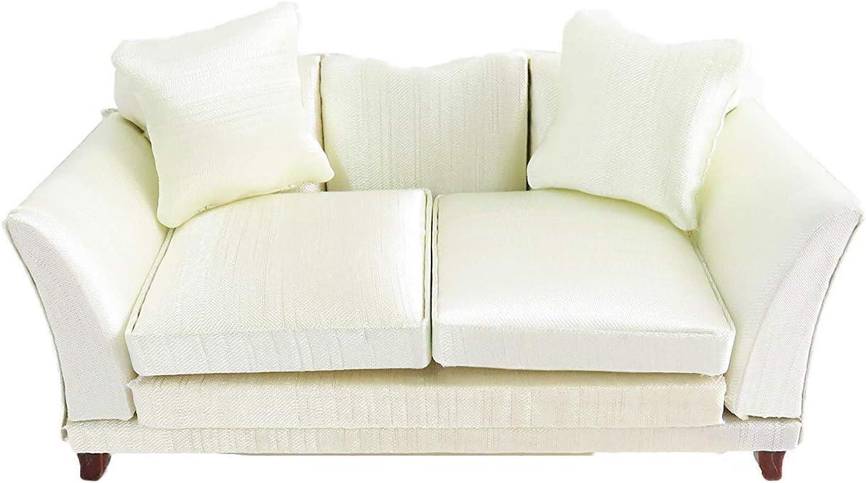 Melody Jane Dollhouse Classic Cream Sofa & Cushions Miniature 1:12 Living Room Furniture