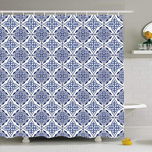 (Ahawoso Shower Curtain 60x72 Inches Carpet Spanish Gorgeous Patchwork Pattern Dark Blue Arabic Vintage Turkish Oriental Floor Floral Waterproof Polyester Fabric Bathroom Curtains Set with Hooks)