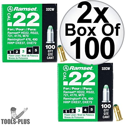 100-Pack ITW BRANDS 00601 .22 Caliber 32CW Green Fastener  Load