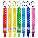 Blulu Pacifier Clip Holder Rainbow Color, 7 Pack