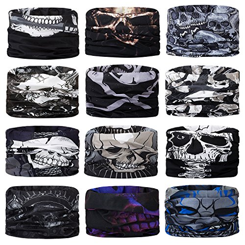 Motorcycle Bandana (Headwear Head Wrap Sports Headband Sweatband Casual Magic Scarf Bandana 12 in 1 Multifunctional 12PCS/9PCS/6PCS for Men and Women)