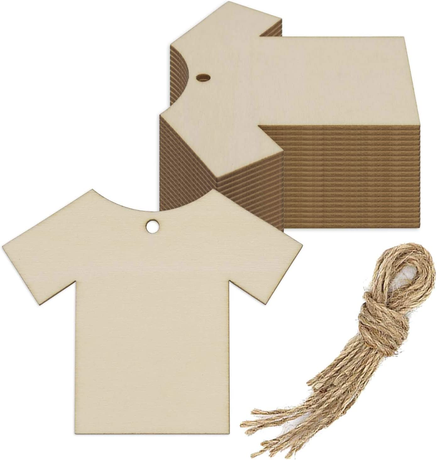 Creaides Clothes Wood Cutout DIY Crafts Wooden Shirt Shaped Ornaments Unfinished Blank Wood Tag Whit Ropes for Wedding Birthday Party Home Decoration (3.94x3.2x0.1 in, 20 Pcs)