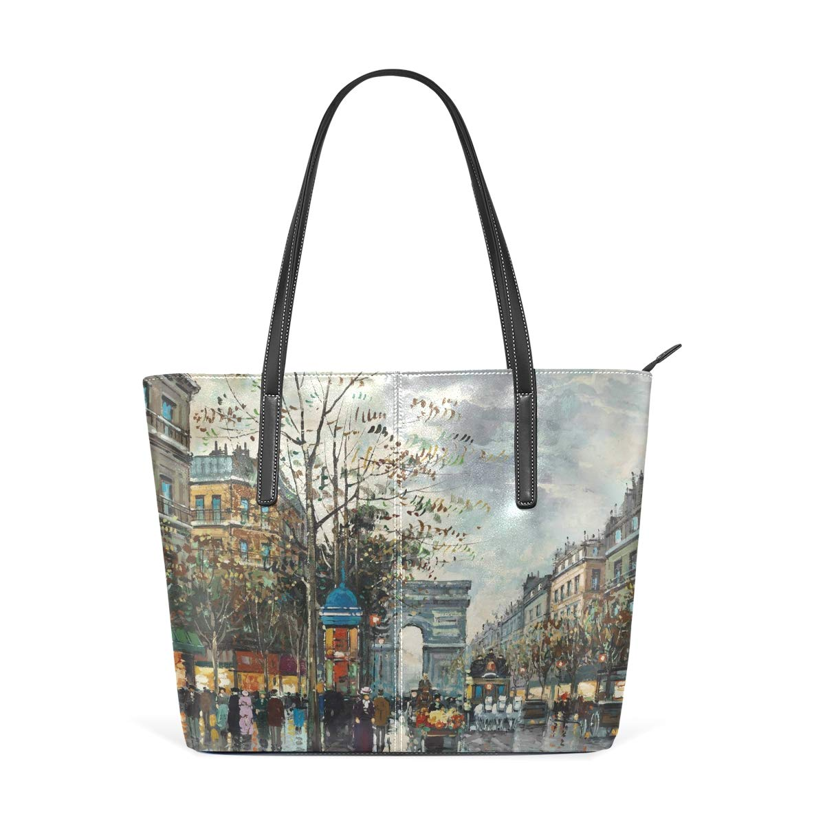 Paris Landscape Oil Painting Decorative Women's PU Leather Tote Shoulder Bags Handbags Casual Bag