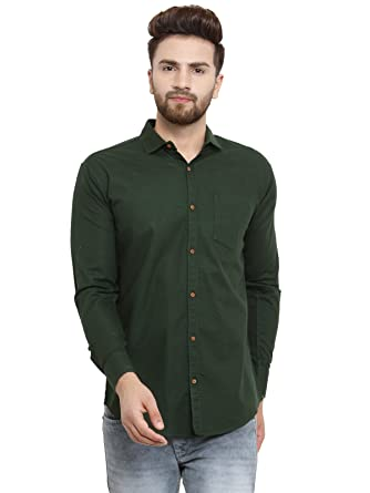 b3a9e135920 Pacman Men s Cotton Slim Fit Formal Shirt (Green