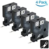 4 Pack Rhino Industrial Heat Shrink Tubes 18051 1/4-inch Black on White Cable Labels Compatible with DYMO LabelWriter and Industrial Label Makers Rhino 5200 4200 And More