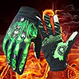 Cycling Gloves Touch Screen Full Finger with Skeleton Zombie Design for Motocross Bike MTB (Green, Large)