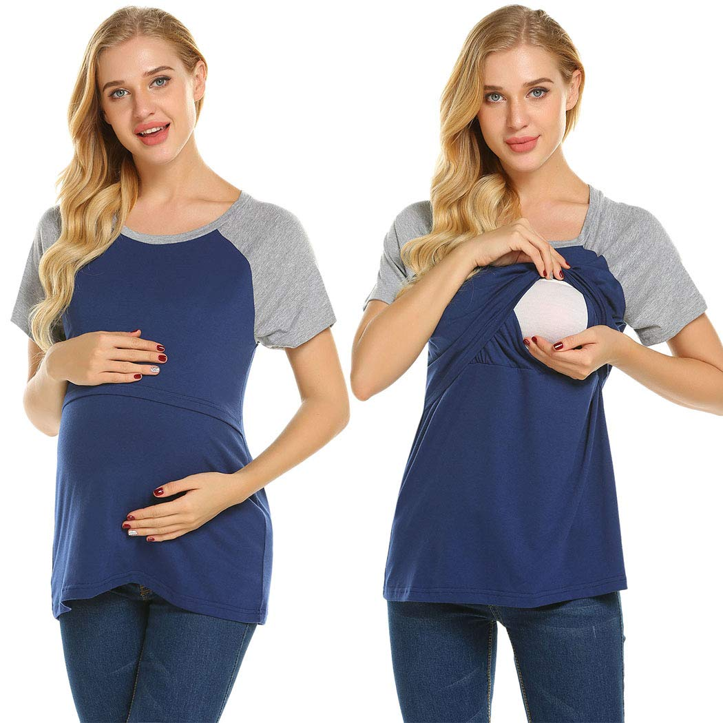 Ekouaer Womens Nursing Tops,Casual Maternity Tee Shirt Loose Breastfeeding Clothes Navy Blue Large