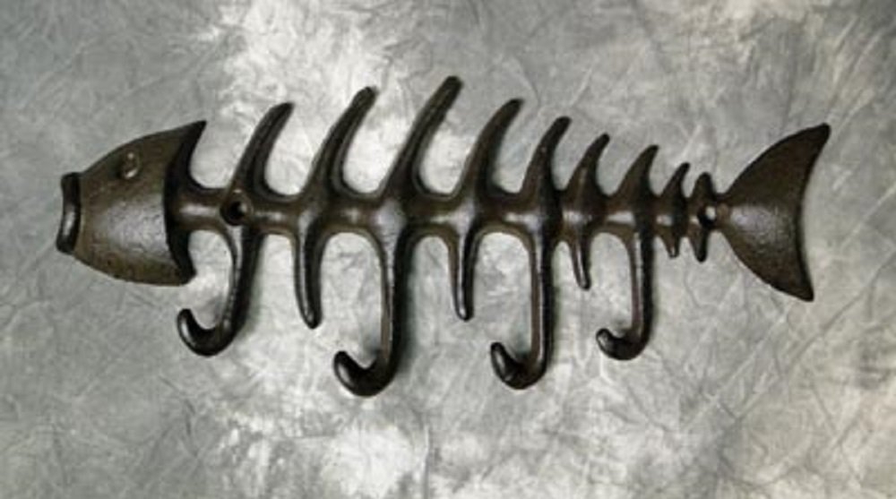 Fish Bones Hooks   8'' X 3.5''   Cast Iron Wall Hanging