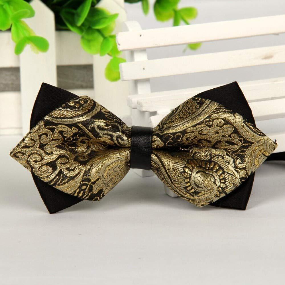 WIFSBR Cravatta a Farfalla Papillon Nero e Oro a Punta per Uomo Festa di Nozze