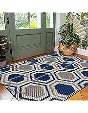 """Vaukki Indoor Doormat Entryway Door Rug, Non Slip Absorbent Mud Trapper Mats, Low-Profile Inside Floor Mats, Geometric Soft Machine Washable Large Rugs Door Carpet for Entryway (32""""x48"""", Blue)"""