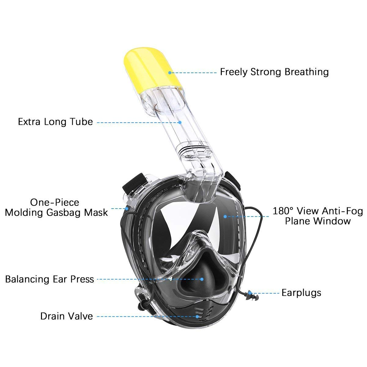 INKERSCOOP One Size Snorkel Mask Ear Pressure Release 180° Panoramic View [2018 Upgrade] Anti-Fog Full Face Snorkeling Mask Earwith Earplug, Easy Breath and No Leakage for Adult and Children