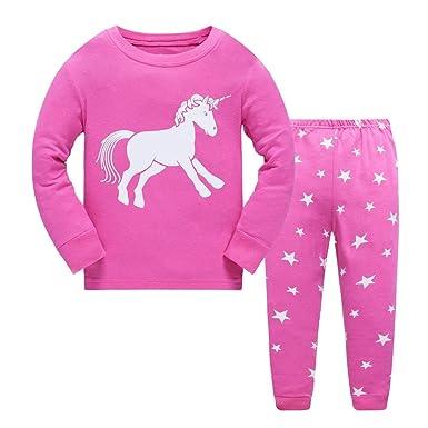 1686e2bf0bed6 Amooy DiZi Lot Pyjama Licorne Fille - Coton Manches Longues Vêtements de  Nuit Unicorn Hiver Nightwear