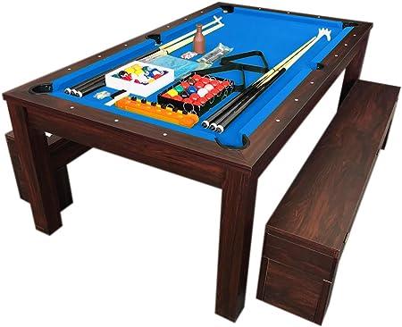 Tavolo da biliardo 7 ft carambola rich blu full optional e piano tavolo con panche / grafica ma.ro srl B07K2C92R7