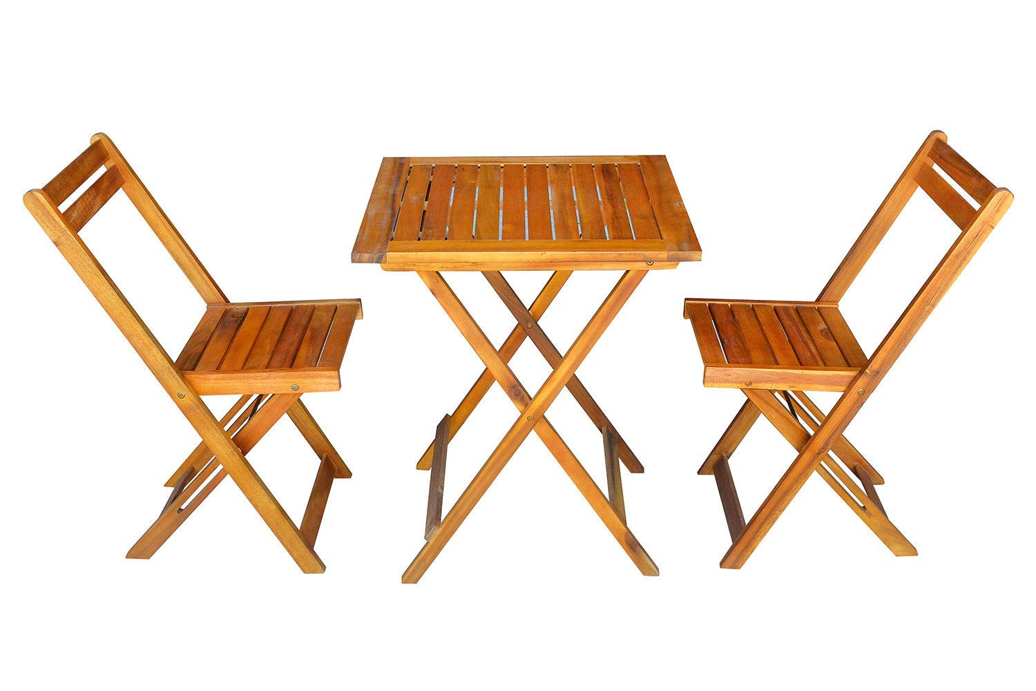 MCombo 2 Wooden Slatted Folding Chairs Outdoor Patio Acacia Dining Table Furniture Set 0021 by MCombo (Image #2)