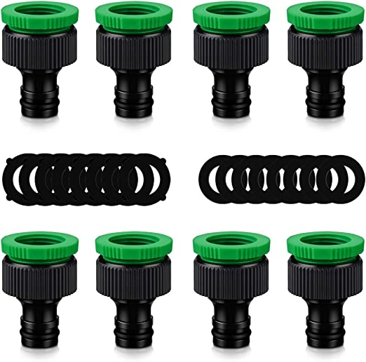 ERKOON - Conector para Manguera, Conector para Grifo, Manguera de jardín de plástico, Conector de Rosca, 1/2 Pulgadas y 3/4 Pulgadas, 2 en 1 (8 Paquetes): Amazon.es: Jardín