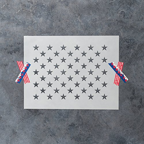 50 Stars Stencil Template - Reusable Stencil of American Flag 50 Stars in Official US Proportions (15.36'' x 10.68'' Actual Dimensions) - Small and Large Sizes Available by Stencil Revolution