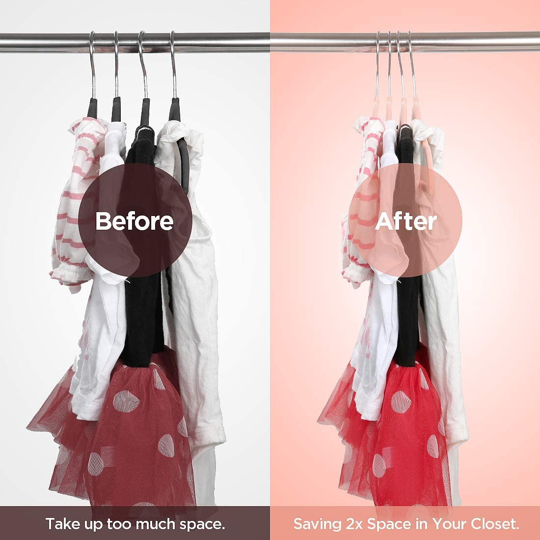 JSLHOME Velvet Hangers with Baby Clothing Dividers,Clothes Hangers,Kids Hangers,30 Pack,Non-Slip Flocking Material Pink Ultra Thin Space Saving,360 Degree Swivel Hook