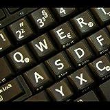 Tedesco Adesivi grandi lettere (maiuscole) Tastiera nero con lettere bianco - adatti a qualsiasi tastiera