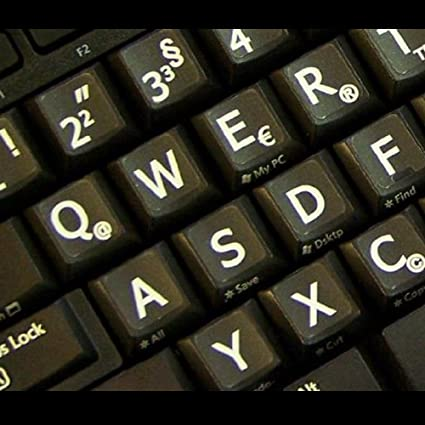 Alemán Reino Unido Grandes letras (mayúsculas) pegatinas de teclado no transparentes de color negro