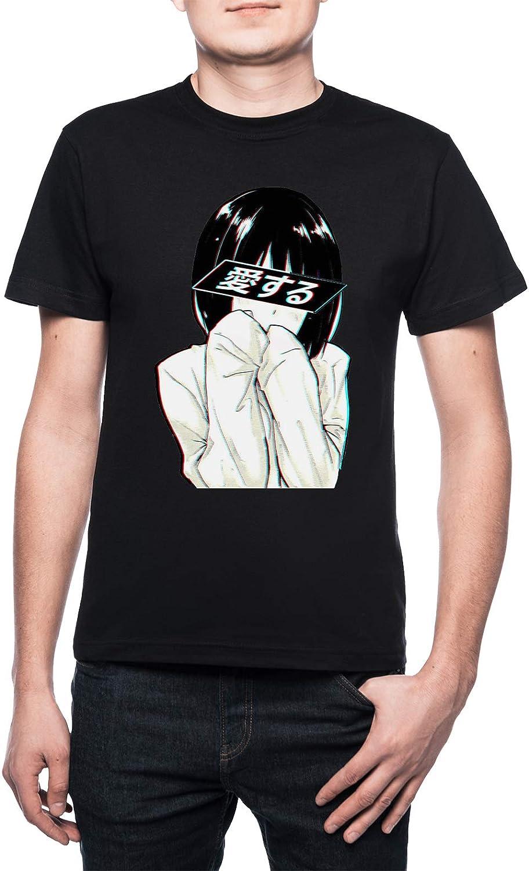 El Amor (Japonés) - Triste Japonés Estético Hombre Camiseta Cuello Redondo Negro Manga Corta Tamaño XL Mens Black T-Shirt X-Large Size XL: Amazon.es: Ropa y accesorios