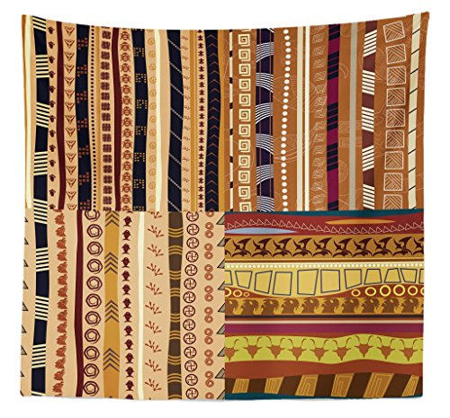 - Lunarable Tribal Tapestry Queen Size, African Motifs Spinning Weaving Style Lines Timeless Continent Art Bohemian, Wall Hanging Bedspread Bed Cover Wall Decor, 88 W X 88 L Inches, Multicolor