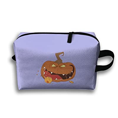 new Unisex Evil Halloween Pumpkin Eat Orange Travel Bags Carry Storage Luggage Handbags
