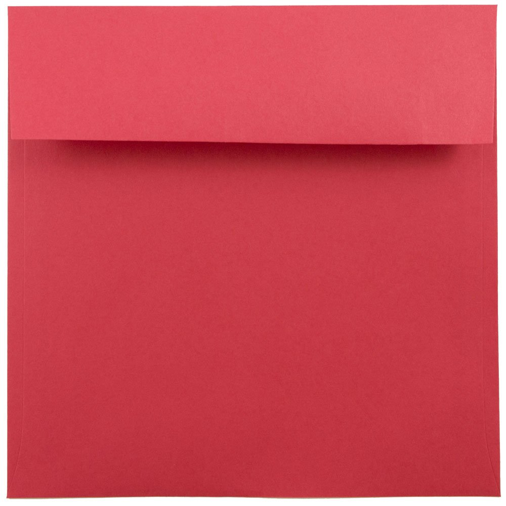 JAM Paper 7.5'' x 7.5'' Square Invitation Envelope - Red - 1000/carton