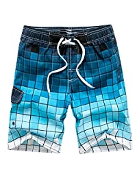 Tailor Pal Love Men's Swimwear Grid Printed Quick-Drying Surfing Shorts with Lining