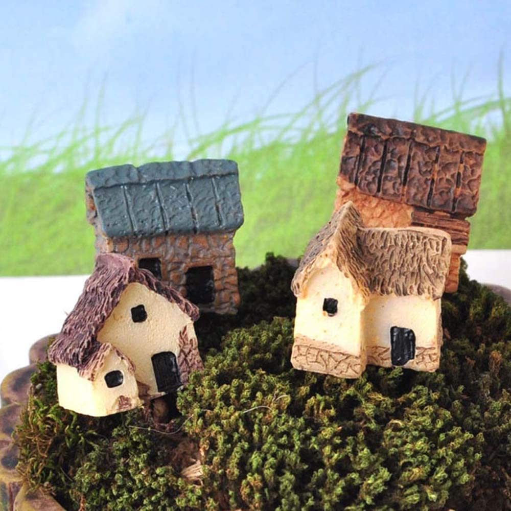 MMLUCK 4Pcs Micro Village Huts Stone Houses Gardening Landscape Thumbnail House Thatched Huts for Garden Decor