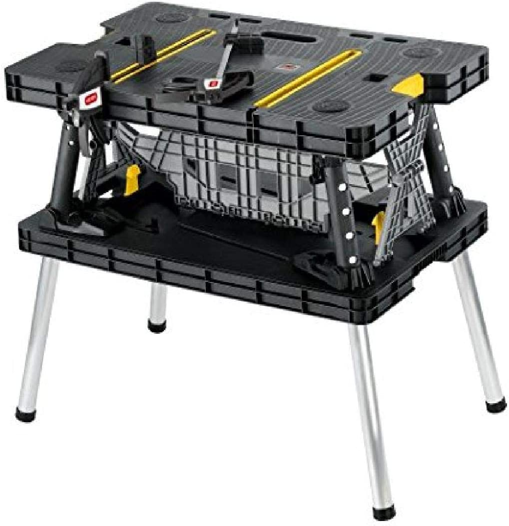 Keter - 197283 Folding Table Work Bench for Miter Saw Stand, Woodworking Tools