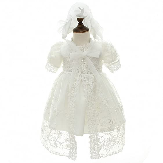 Amazon.com: Baby Christening Baptism Dress 3Pcs Toddler Princess ...