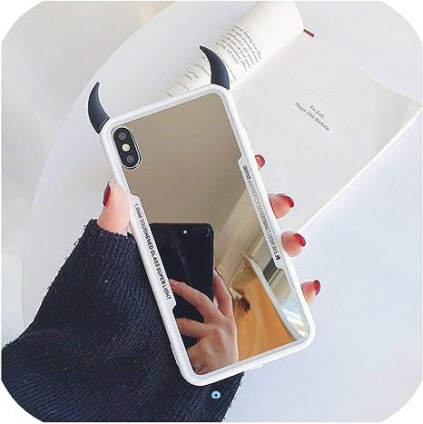 Funda para iPhone 11 Pro MAX para iPhone XR XS MAX Coque para iPhone 7 6S 8 Plus Espejo teléfono Funda Lindo 3D Cuerno de Diablo Cubierta en Aliekspress - 11.11_Double 11_Singles