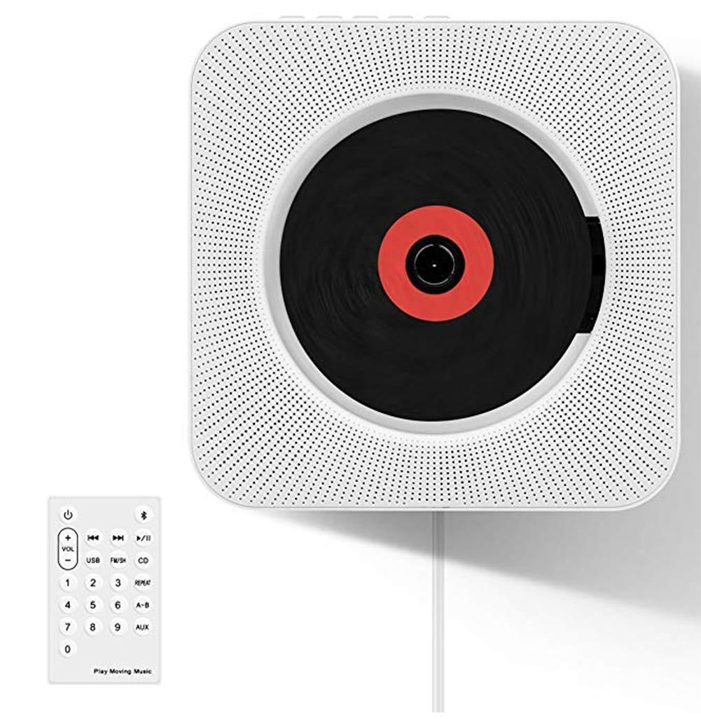 CDプレーヤー壁掛け式CDプレーヤー コンパクト 語学学習 音楽鑑賞 ブルートゥース/FM/USB/SDモード対応 cdプレーヤー リモコン付き B07SSPP5NX white