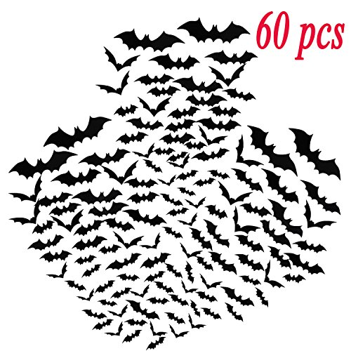 Ikooo 60 Pcs 3D Bats Stickers Halloween Wall Decoration Window Decor Scary Bats Party Supplies ...]()