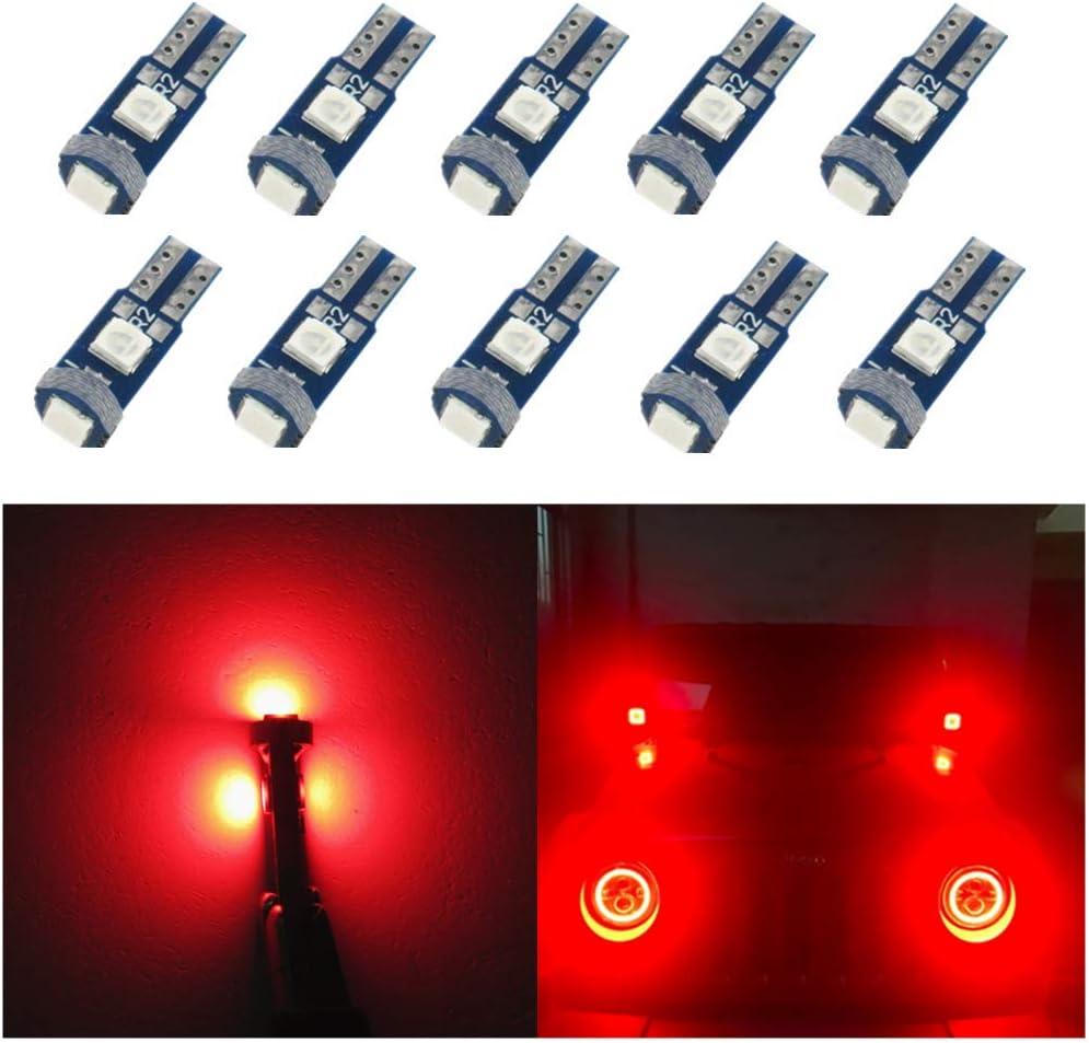 WLJH 10 pcs Rouge T5 LED Ampoules 1.5 W 3030 Puces LED Ange Yeux Phare Phare Halo Anneau Avertissement Lampe Ampoule