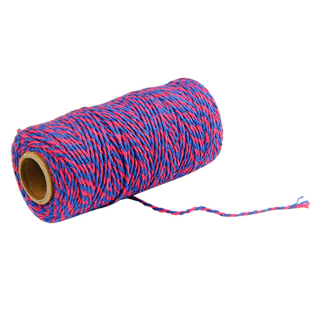 Mome Macrame Rope100% Cotton Two Colors Cotton Bakers Twine Rope Rustic Country Arafts Handmade Accessories, 100M (I)