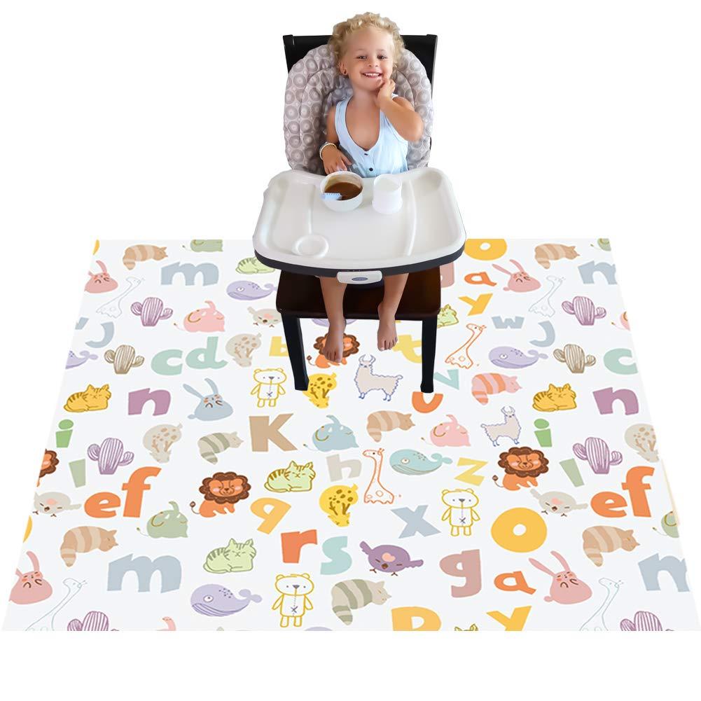 Highchair Floor Mat, Baby Splat Mat for Under High Chair/Arts/Crafts, Womumon Waterproof Spill Mat Non-Slip Splash Mat, Washable Mess Mat and Table Cloth (Alphabet) by WOMUMON