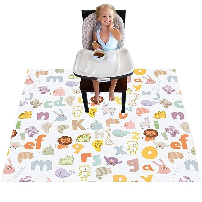 estampada para ni/ños y beb/és impermeable lavable Alfombrilla para trona para beb/é plegable para comer trona Talla:110cm*110cm