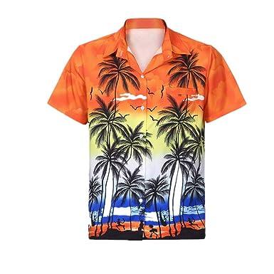 DEELIN Hombre Verano Hawaiano Playa Camisa Manga Corta Frente Bolsa Playa Floral ImpresióN Tendencia Camiseta Top Orange