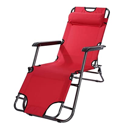 Inditradition Zero Gravity Recliner Chair | Foldable Lounge, Garden, Pool Chair (Red, 153 x 60 cm)