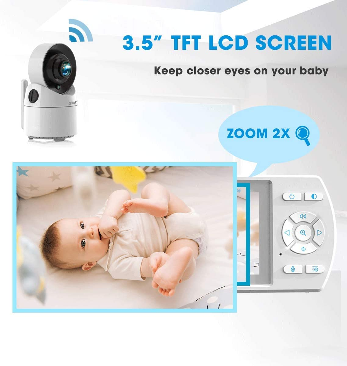 Campark Baby Monitor with Camera and Audio Pan 355 Video Baby Monitor with Night Vision Wireless Infant Monitor with 3.5 inch Screen VOX Two-Way Talk Lullabies and Support 4 Cameras