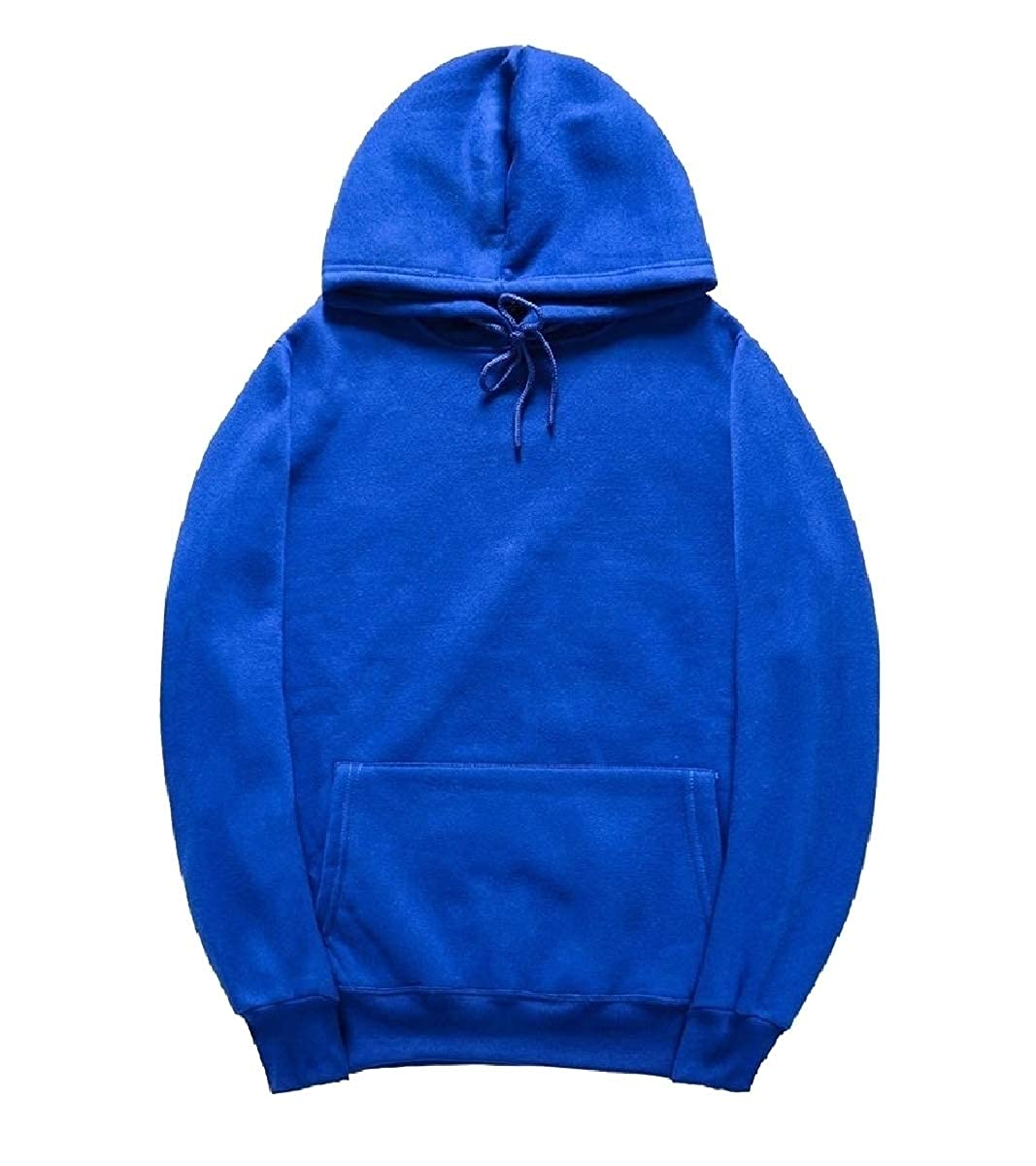 YUNY Men Pure Color Stylish Long Sleeve Plus Size Hoodies Sweater Blue M