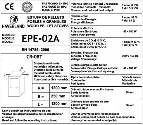 Haverland EPE-02A Estufa de pellets aire programable 8Kw