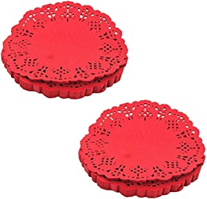 5.5 Inch Lace Paper Round Decorative Paper Placemat Round Paper Lace Can be Used for Cakes Desserts Baked Snacks Tea Parties Weddings and Tableware Decoration (Red)(200pcs)