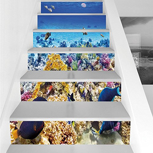 Stair Stickers Wall Stickers,6 PCS Self-adhesive,Ocean Decor,Underwater Sea World Scene with Goldfish Starfish Jellyfish Depth Diving Concept,Turquoise,Stair Riser Decal for Living Room, Hall, Kids Ro