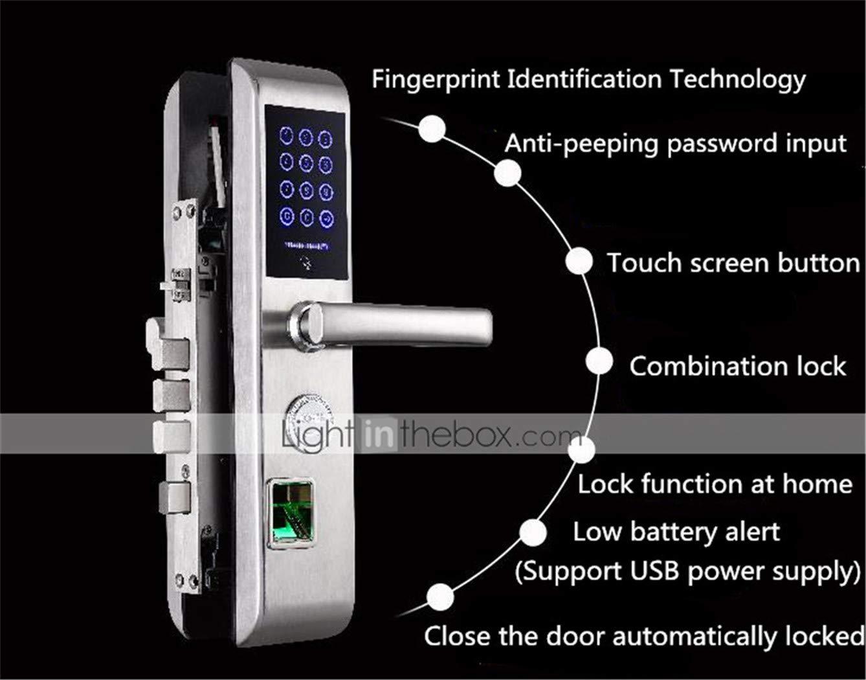 WAZA Fingerprint T/ürschloss 5 IN 1 Security Smart Lock App Funktion RFID Zutrittskontrolle Elektronisch Batterienbetrieb Android iOS