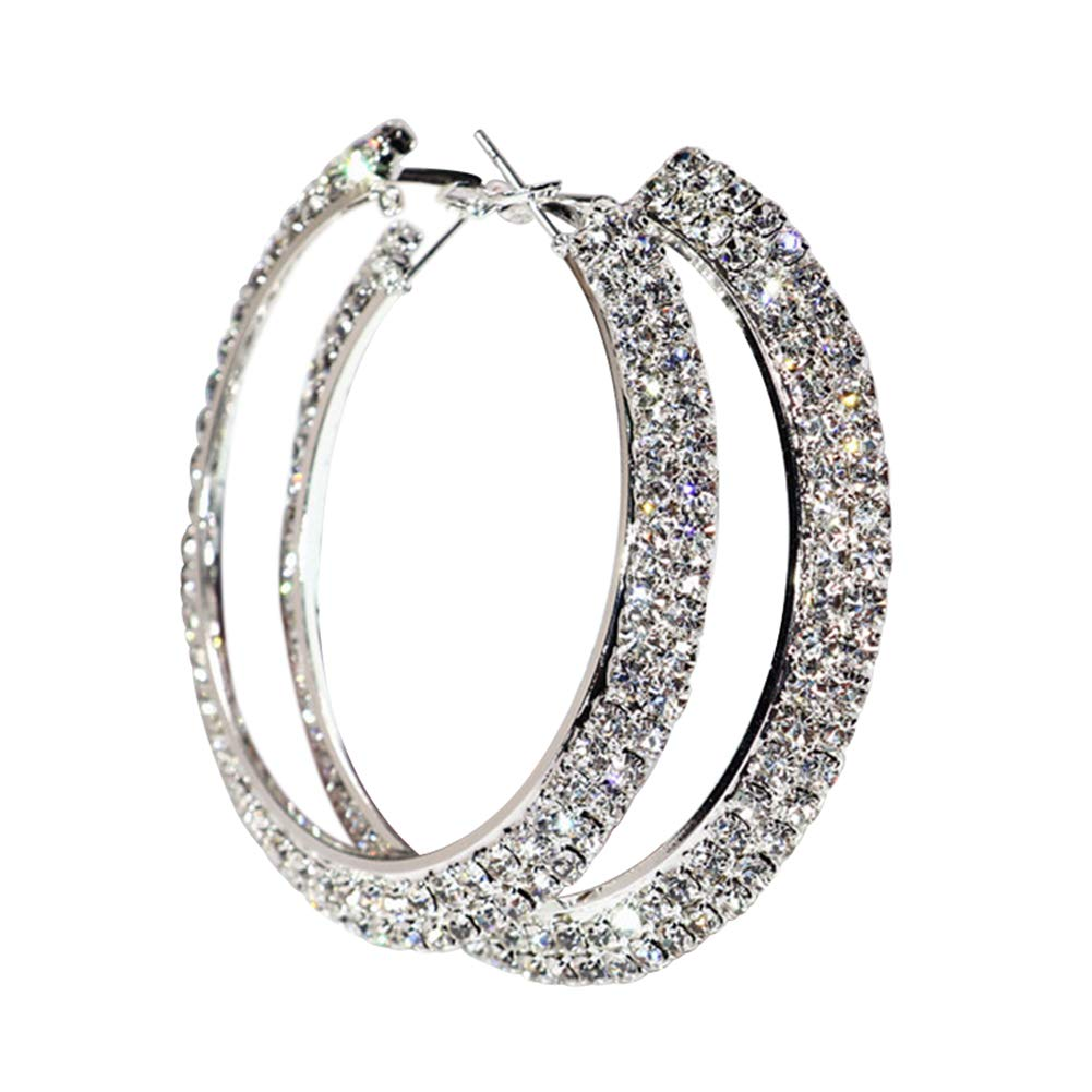 Dds5391 Shining Trendy Lady Rhinestone Jewelry Decor Hip Hop Big Circle Ring Hoop Earrings - Silver 3cm